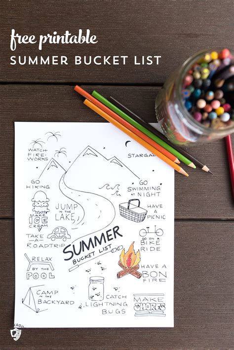 printable summer bucket list coloring page
