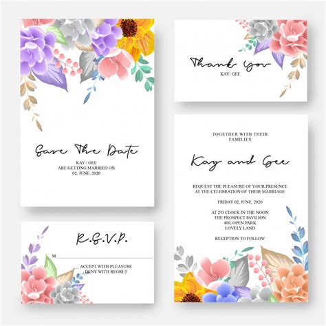 Wedding invitation floral invite thank you rsvp modern