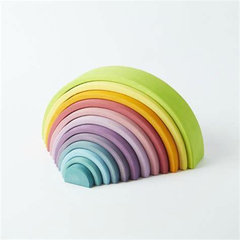 Grimms Large Wooden Pastel Rainbow 12pcs