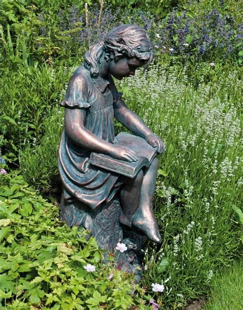 garden statues garden with reading bronze statue cleaning ways for