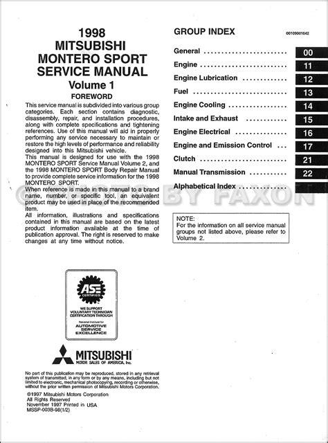 manual repair autos 2004 mitsubishi montero sport regenerative braking 1998 mitsubishi montero sport repair shop manual set original