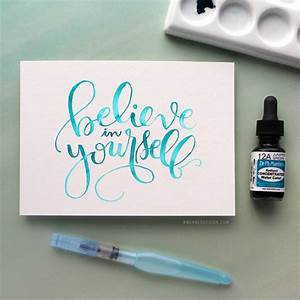 watercolor brush lettering using a light pad With water brush lettering
