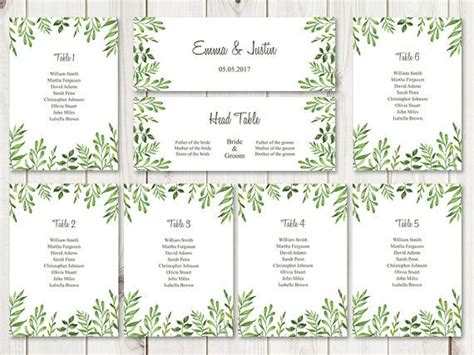 Wedding Table List Template watercolor wedding seating chart template lovely leaves