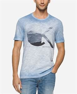 Calvin klein jeans Menu0026#39;s Clouds Crew Neck T-shirt in Blue ...