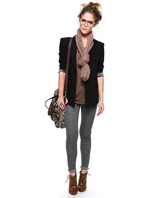Perfect outfit for Fall. Grey leggings. Brown ankle boots. Black blazer. Taupe scarf. Silk ...