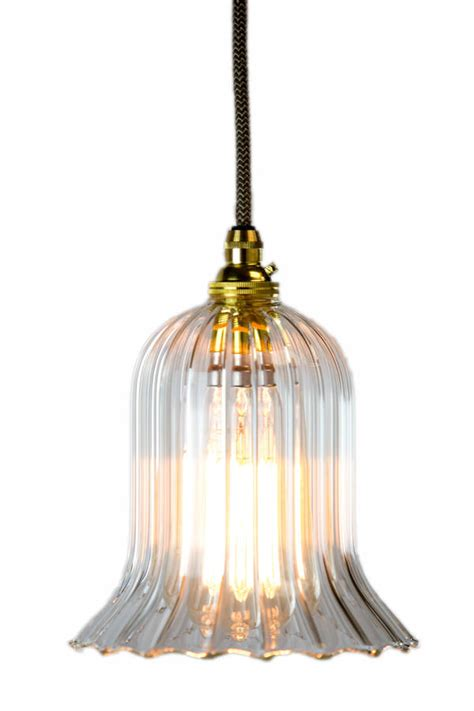 humphrey handmade ribbed trumpet glass pendant light by