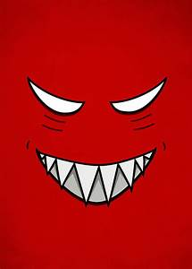 Cartoon Grinning Face With Evil Eyes Digital Art by ...