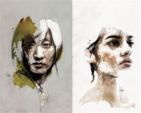 Mixed Media Portraits By Florian Nicolle Colossal
