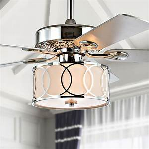 Circe, 52, U0026quot, 3-light, Drum, Shade, Led, Ceiling, Fan, With, Remote, Chrome