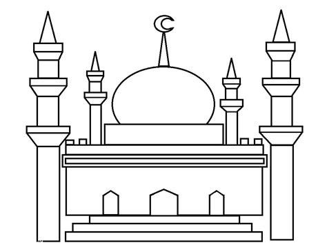 kumpulan gambar mewarnai masjid untuk anak paud dan tk