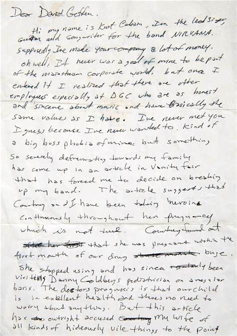 kurt cobain letter lennon s handwritten lyrics cobain s angry note up for 31427