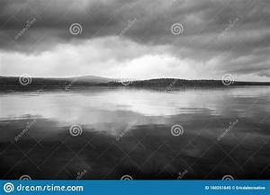 Dark, Foreboding, Storm, Clouds, Over, A, Gloomy, Lake, Landscape, Stock, Image