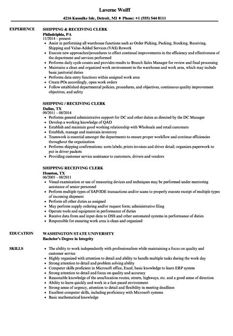 Shipping Clerk Resume by Shipping Receiving Clerk Resume Sles Velvet
