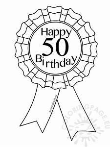 printable award ribbon 50 birthday coloring page