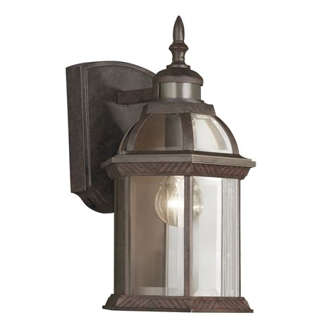motion activated porch light shop portfolio 14 5 in h bronze motion activated outdoor
