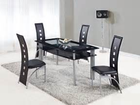 furniture kitchen set extendable rectangular frosted glass top leather modern