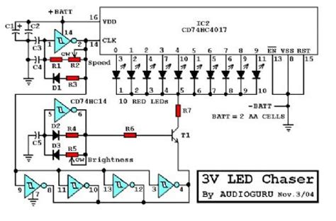 led light chaser circuit diagram index 15 led and light circuit circuit diagram