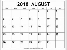 Printable 2018 August Calendar