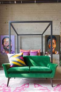 30 lush green velvet sofas in cozy living rooms With sofa at foot of bed