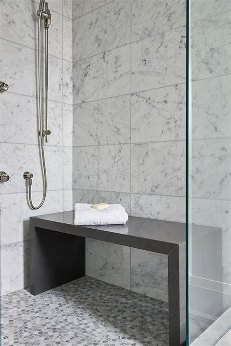 contemporary bathroom shower  filled  white grid