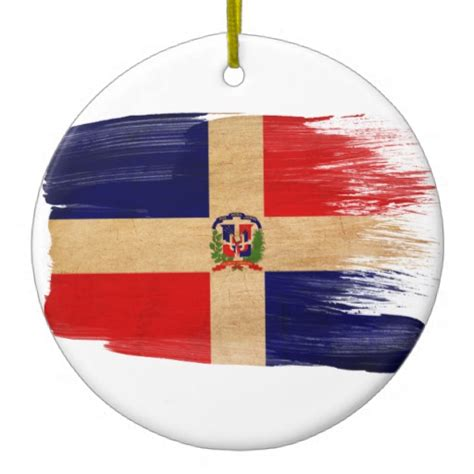 dominican republic flag double sided ceramic round