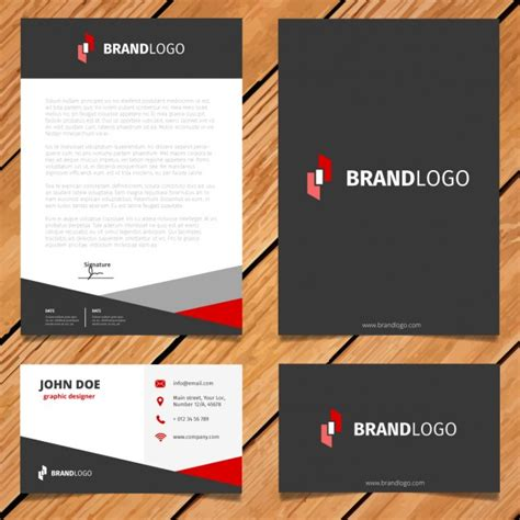 black  red corporate stationery design vector