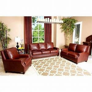 Abbyson living bel air 3 piece leather sofa set in brown for Bel furniture living room sets