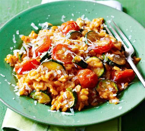 tomato recipe tomato courgette risotto recipe bbc good food