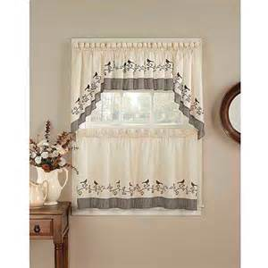 chf you birds tailored tier curtain panel set of 2