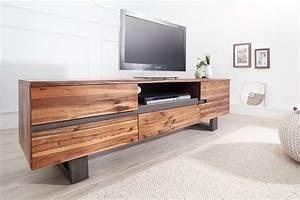 Massivholz Tv Board : massives baumstamm tv board genesis 160cm akazie massivholz baumkante lowboard mit kufengestell ~ Watch28wear.com Haus und Dekorationen