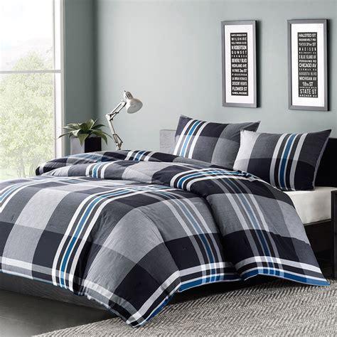mens comforter set mens boys bedding comforter set or blue gray white plaid ebay
