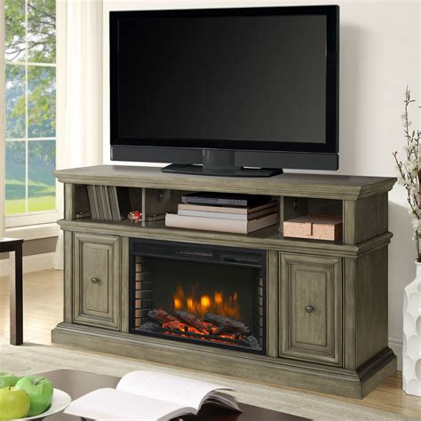 mccrea  media electric fireplace  dark weathered grey