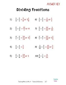 dividing fractions worksheet and notes by teaching math