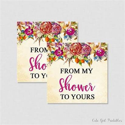 Bridal Shower Tags Favor Flowers Printable Floral