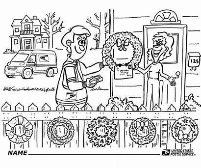 Usps Coloring Holiday Wreaths Stamps Link Story