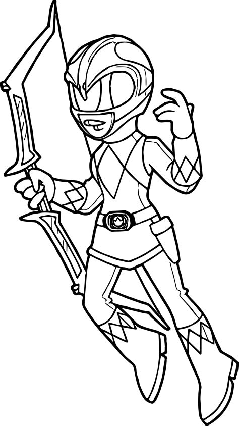 cool power rangers pink ranger coloring page