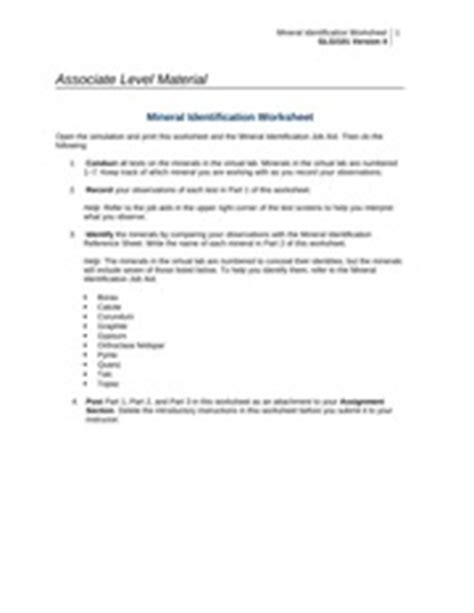 Week1mineral Lab  Mineral Identification Worksheet Glg101 Version 4 1 Associate Level
