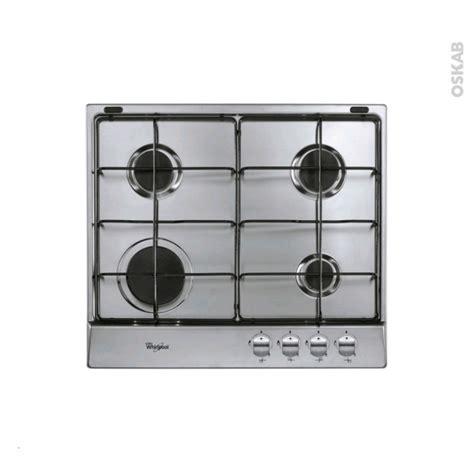 plaque de cuisine plaque de cuisson 4 feux gaz 60 cm inox whirlpool akr 331