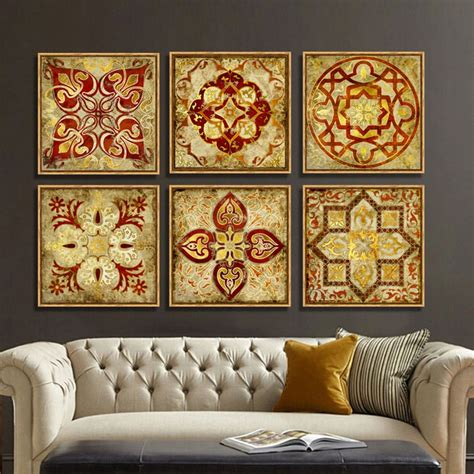piece canvas art moroccan style gold national decoration