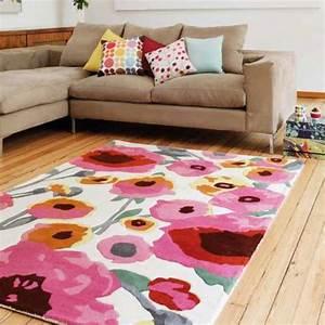 Tapis a fleurs multicolore tufte main en laine par joseph for Tapis champ de fleurs avec canapé chesterfield multicolore