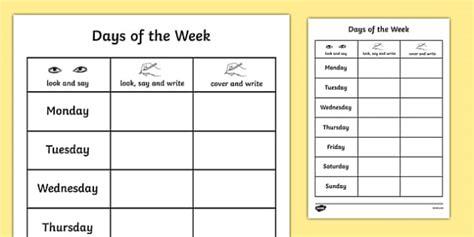 days of the week practice writing worksheet week days write