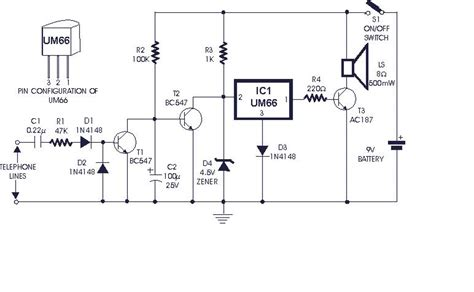 how to build soft musical telephone ringer circuit diagram