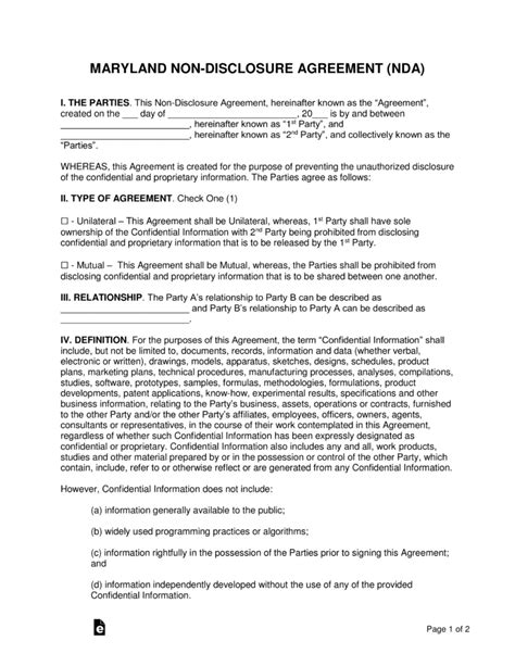 maryland  disclosure agreement nda template eforms