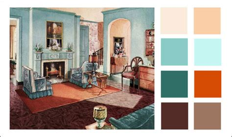1929 armstrong living room turquoise orange color scheme vintage interiors