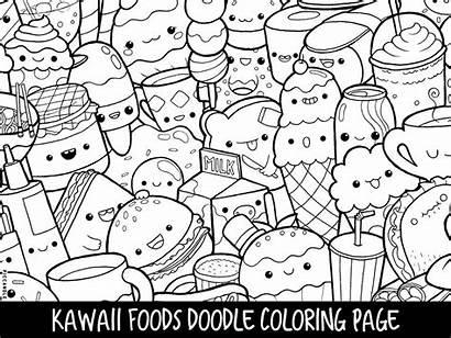 Coloring Printable Doodle Foods Kawaii