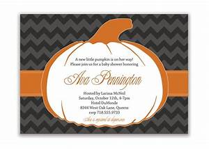 pumpkin baby shower invitation chevron bridal shower With halloween style wedding invitations