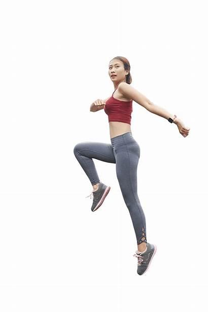 Jumping Woman Posture Lab Head Leave Sg