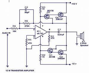 12 Watts Transistor Amplifier Circuit Diagram