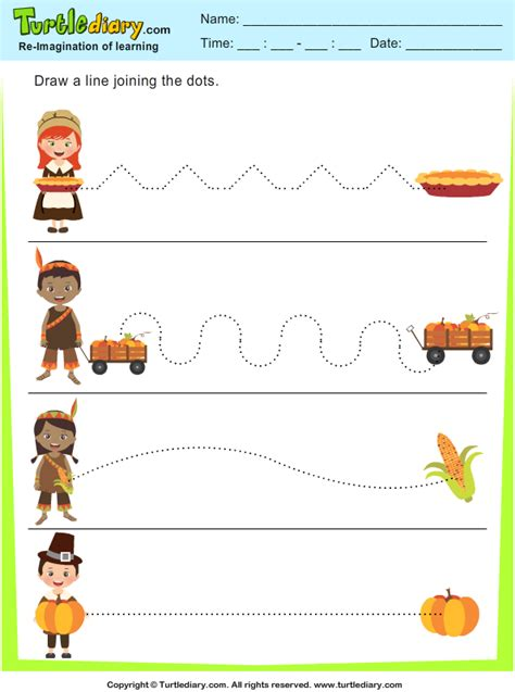 thanksgiving connect  dots  worksheet turtle diary