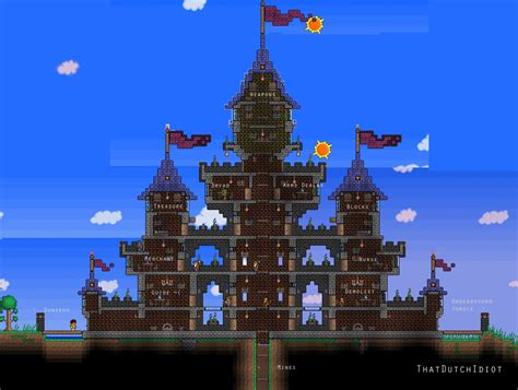 Build Blueprints by Traditional Turreted Castle Design In Terraria Gaming